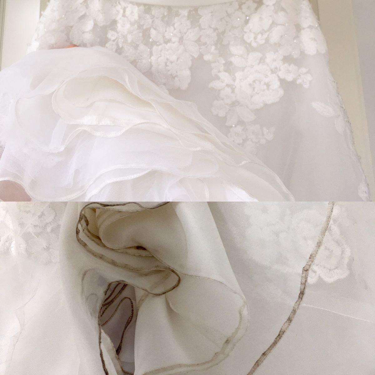 Bridalgown cleaning-before after